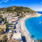 Agios Nikitas Beach in Lefkada island, Greece panoramic aerial view