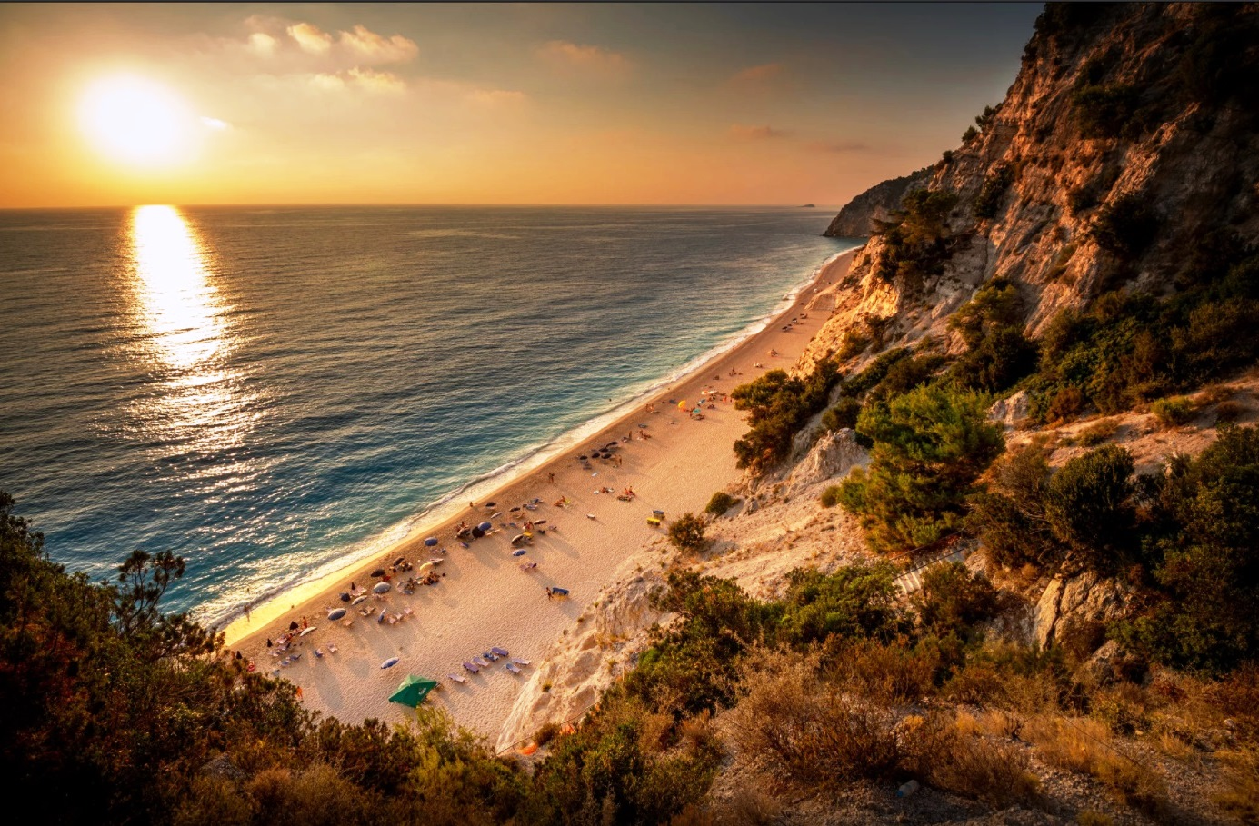 sunset beach lefkada